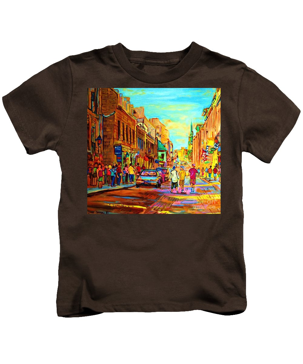 Montreal Kids T-Shirt featuring the painting Follow The Yellow Brick Road by Carole Spandau