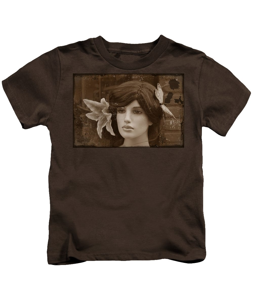 Forever Young Doll Female Girl Model Vintage Sepia Erotic Face Beauty Expressionism Photograph Digital Art Kids T-Shirt featuring the digital art Forever Young by Steve K