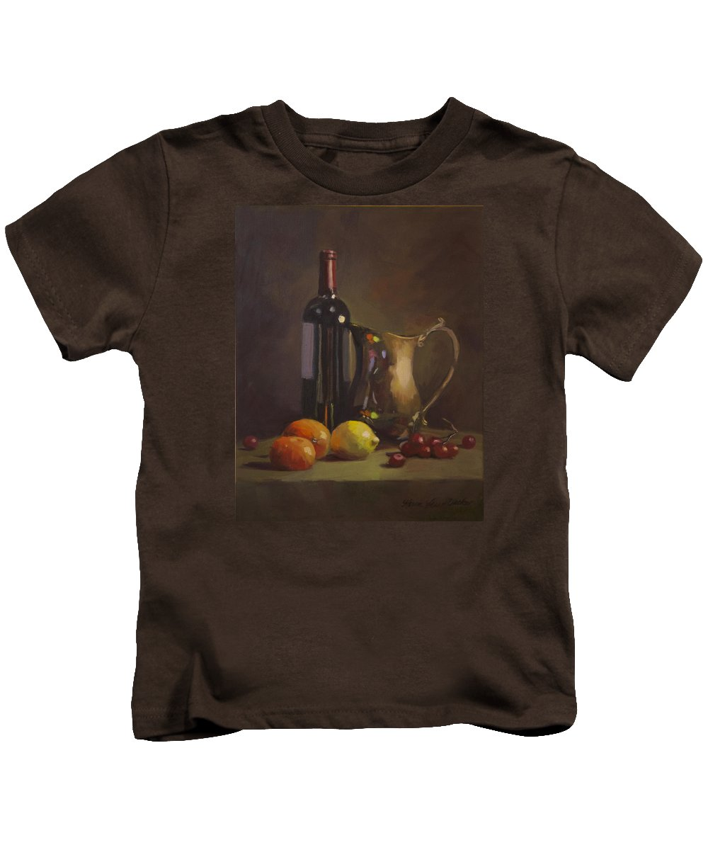 Still Life Kids T-Shirt featuring the painting Fruit And Wine by Karen Fess