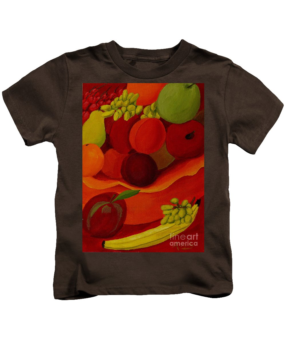 Fruit Kids T-Shirt featuring the painting Fruit-still Life by Anthony Dunphy