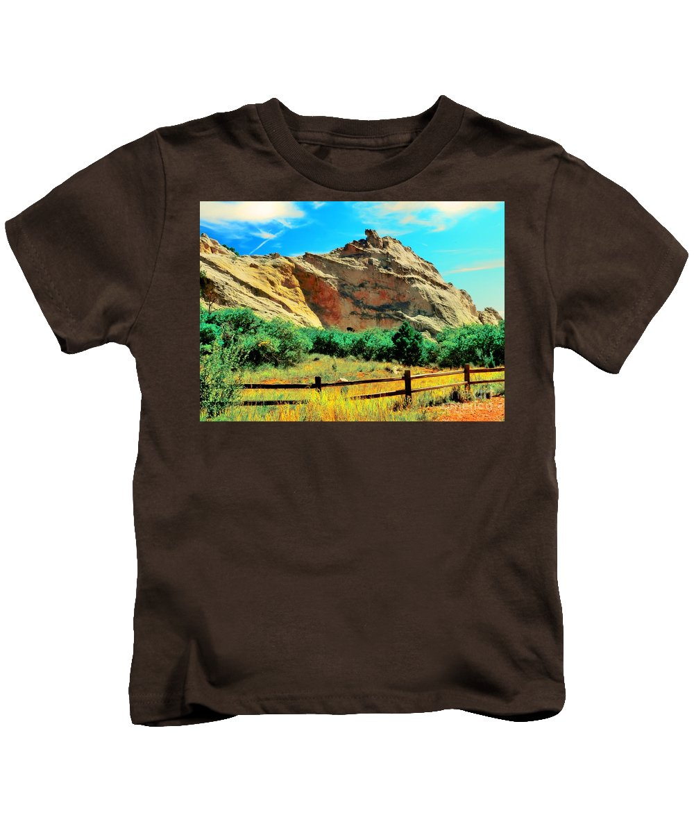 Garden God'scolorado Kids T-Shirt featuring the photograph Garden Of The God's-colorado by Kathleen Struckle