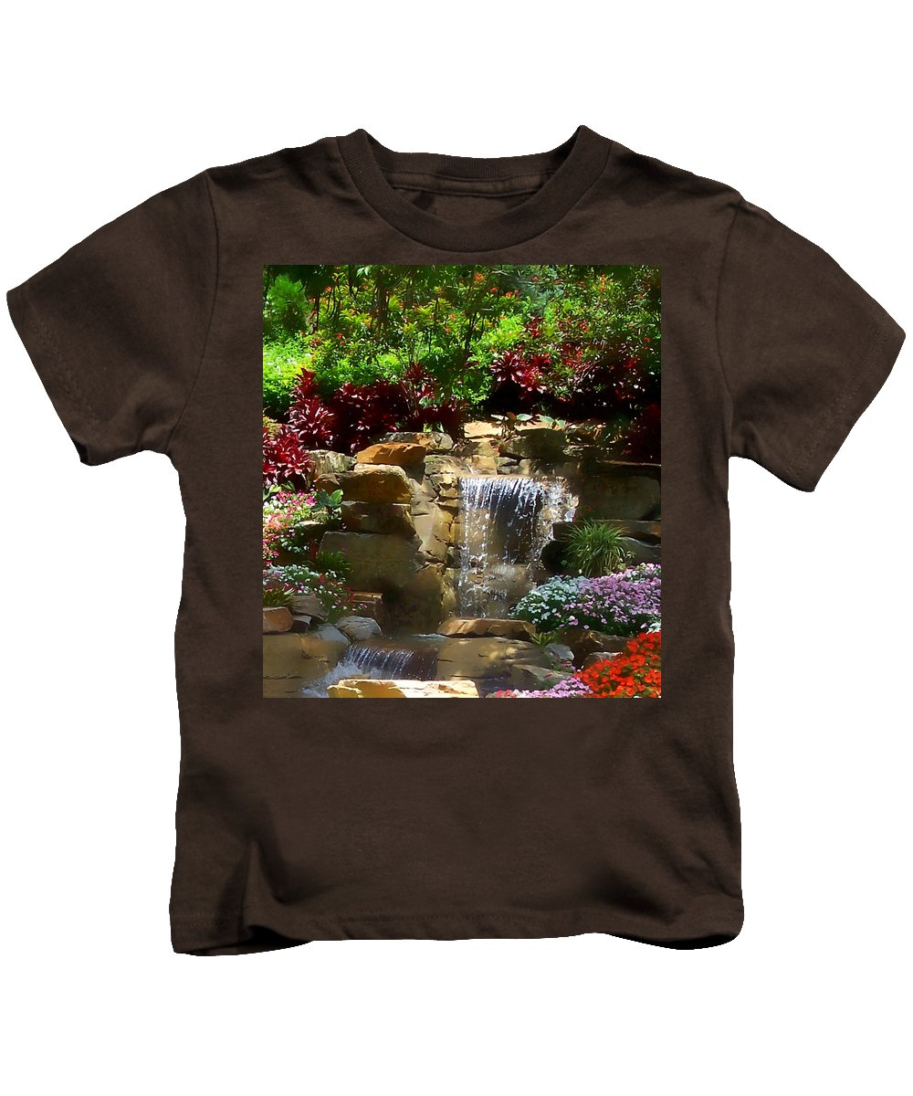 Garden Kids T-Shirt featuring the photograph Garden Waterfalls by Pharris Art