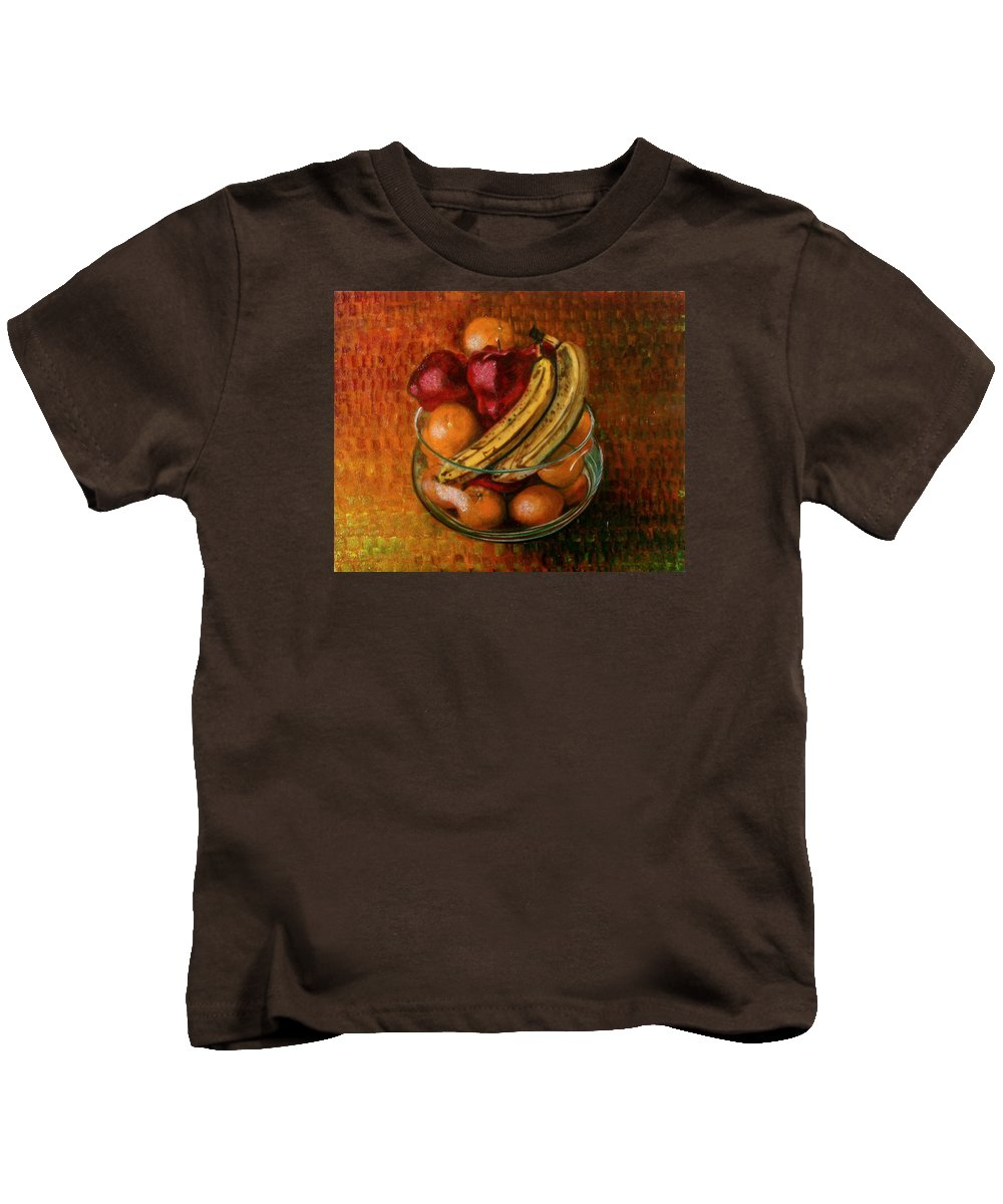 Still Life Kids T-Shirt featuring the painting Glass Bowl Of Fruit by Sean Connolly