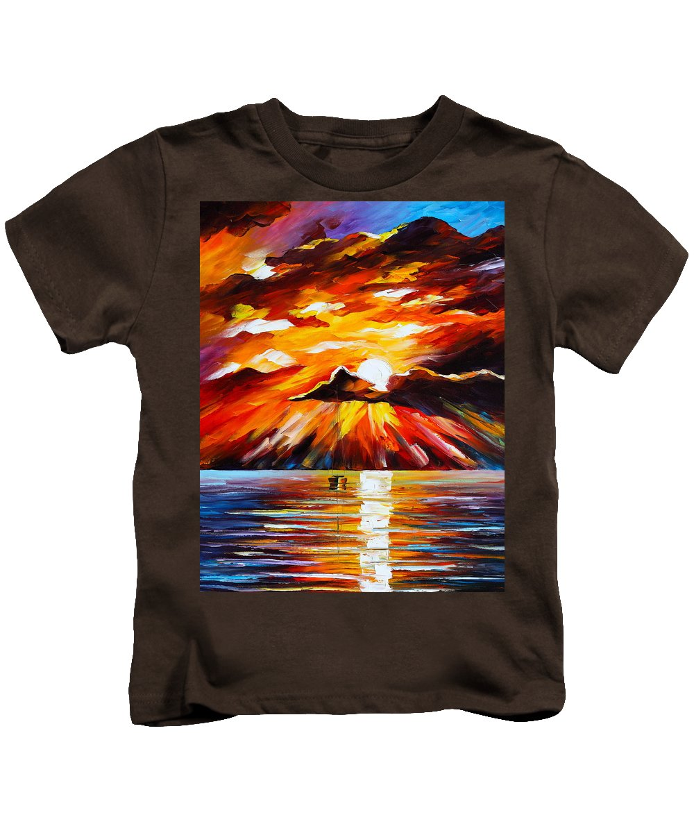 Sea Kids T-Shirt featuring the painting Glowing Sun by Leonid Afremov