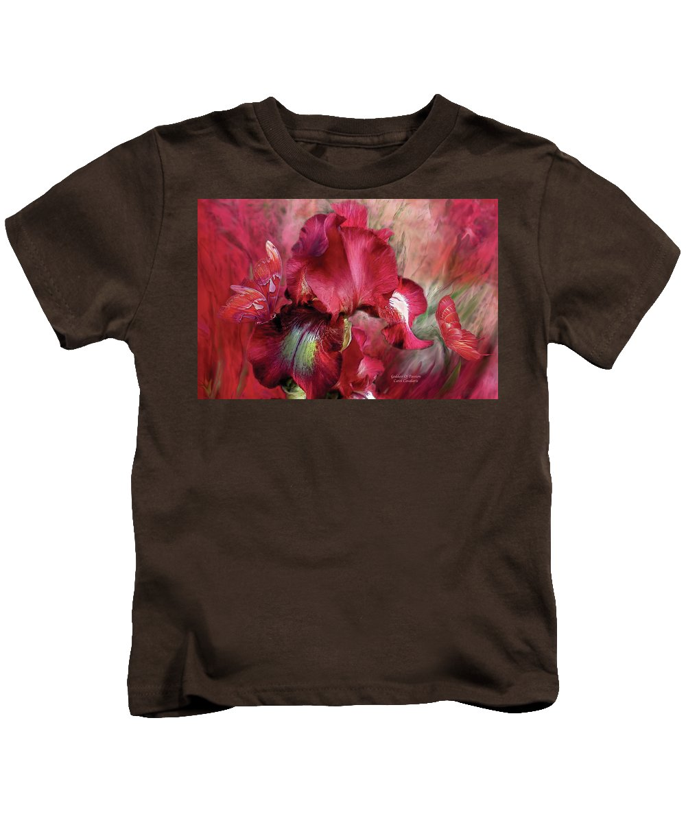 Iris Kids T-Shirt featuring the mixed media Goddess Of Passion by Carol Cavalaris
