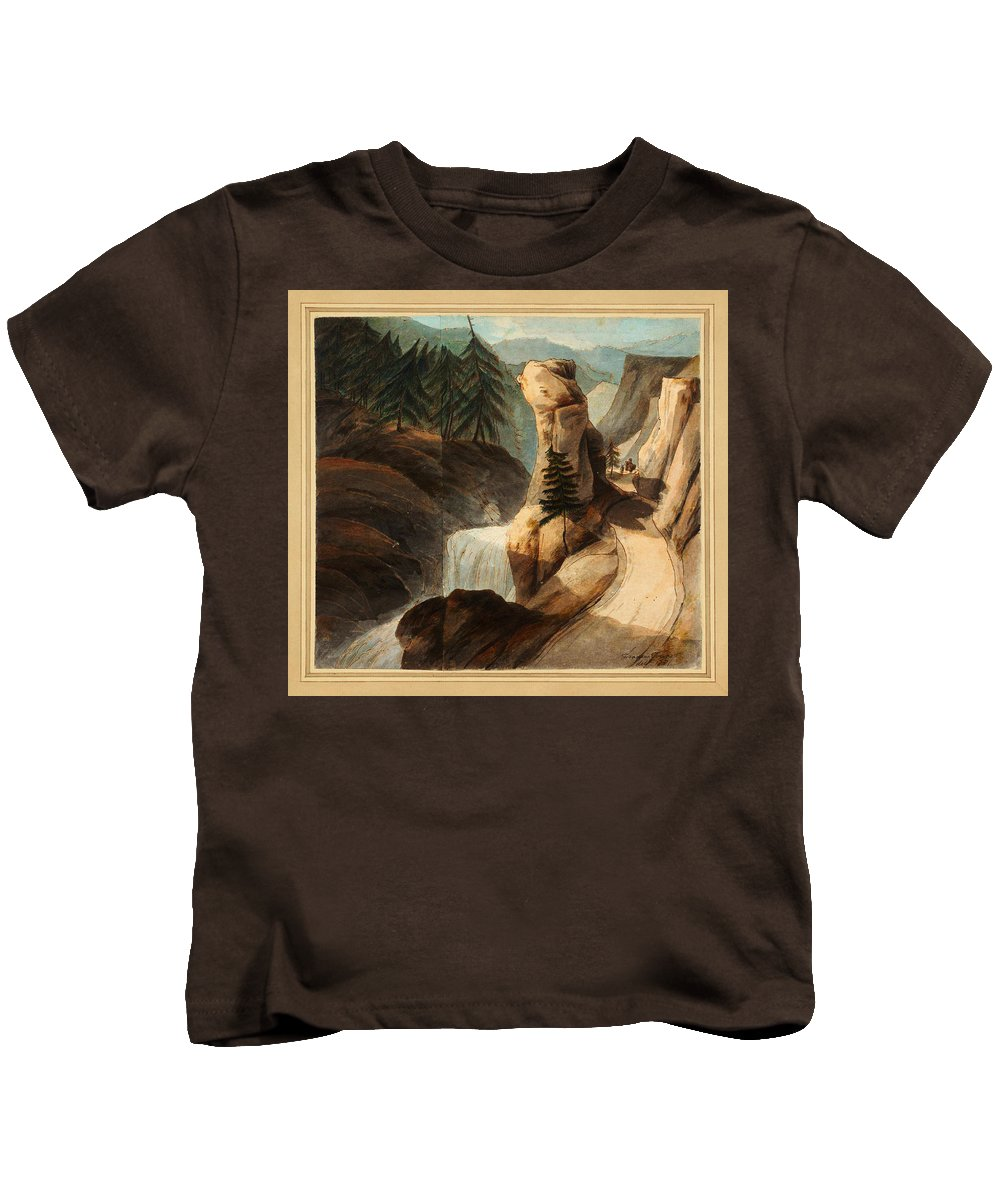Francis Towne Going Up Mount Splugen Kids T-Shirt featuring the painting Going Up Mount Splugen by Celestial Images