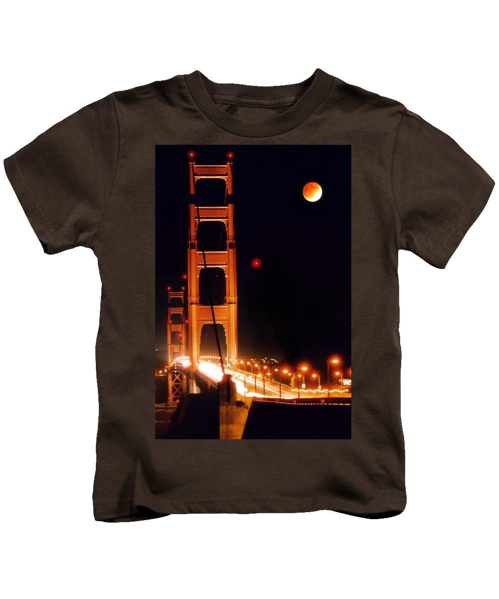 Bridge Kids T-Shirt featuring the photograph Golden Gate Night by DJ Florek
