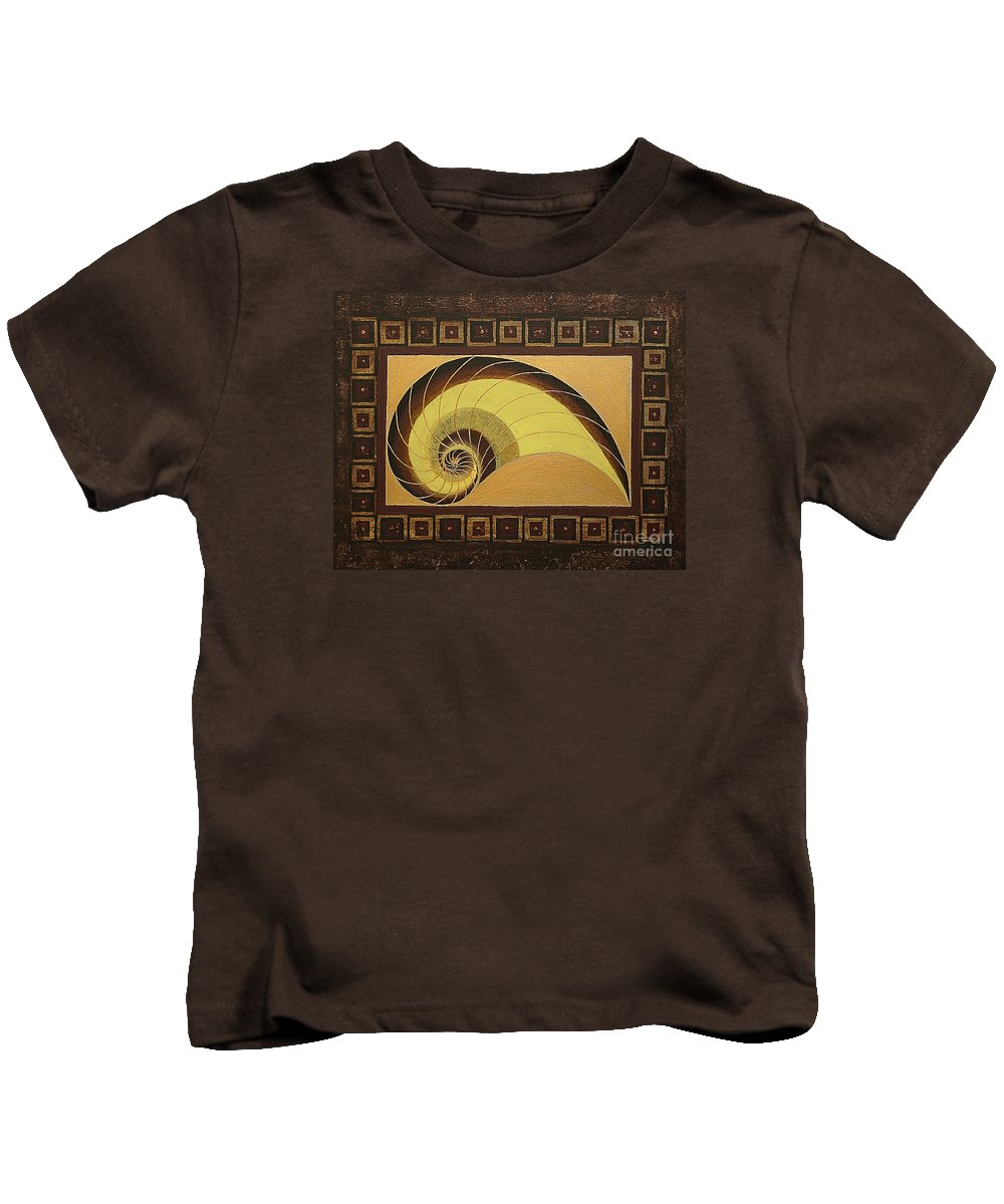 Mandala Paintings Kids T-Shirt featuring the painting Golden Ratio Spiral by Maya B