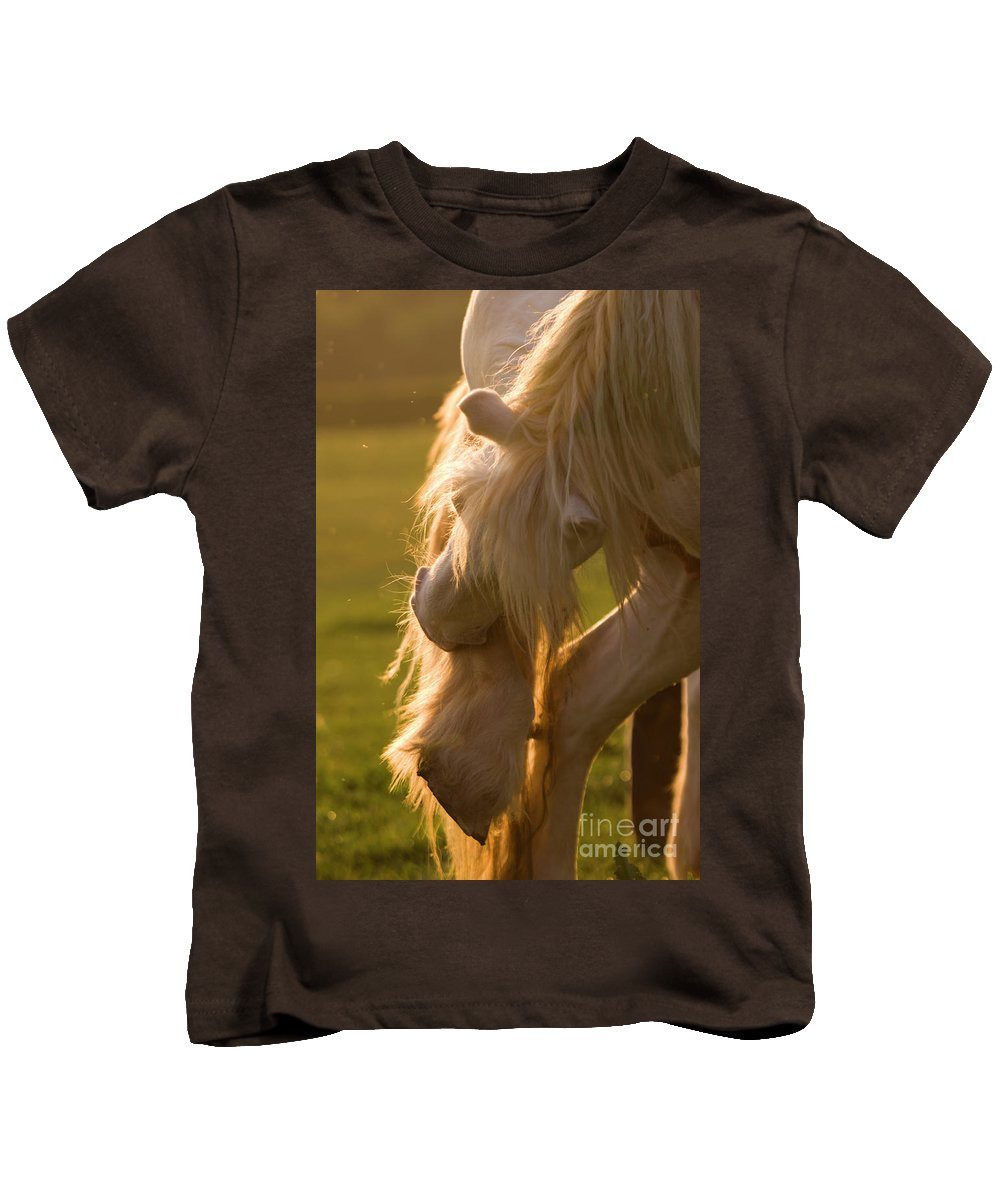 Horse Kids T-Shirt featuring the photograph Golden Sunlight In The Mane by Angel Ciesniarska