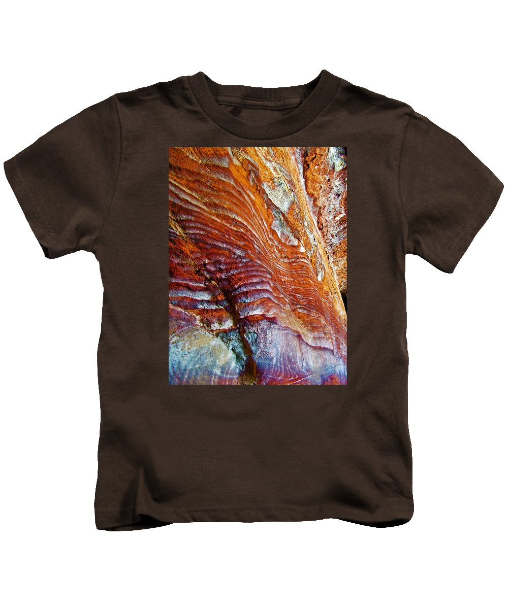 Graceful Grooves Rock In Petra Kids T-Shirt featuring the photograph Graceful Grooves Rock In Petra-jordan by Ruth Hager
