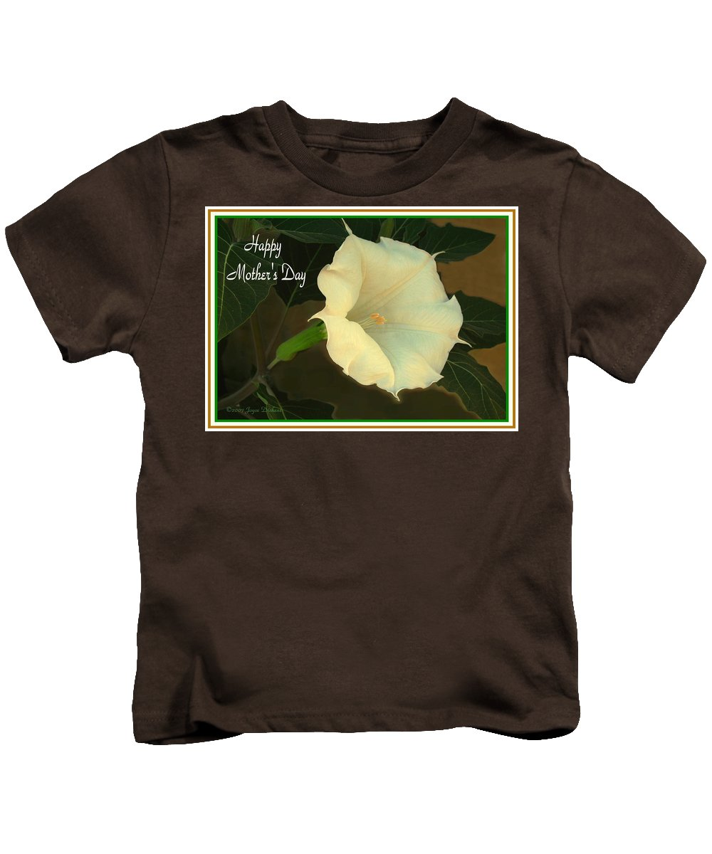 Moonflower Kids T-Shirt featuring the photograph Graceful Moonflower - Happy Mother's Day by Joyce Dickens