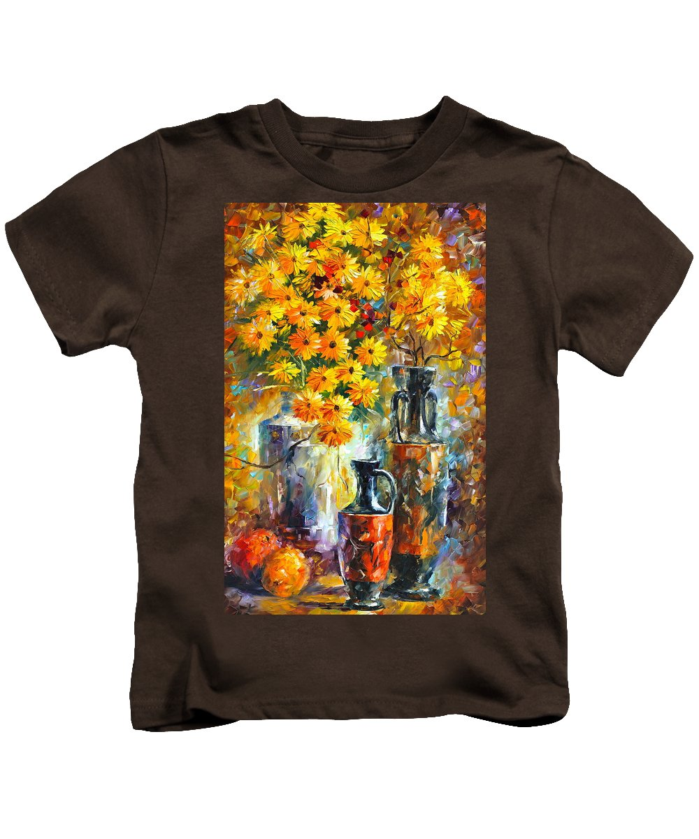 Afremov Kids T-Shirt featuring the painting Greek Vases by Leonid Afremov