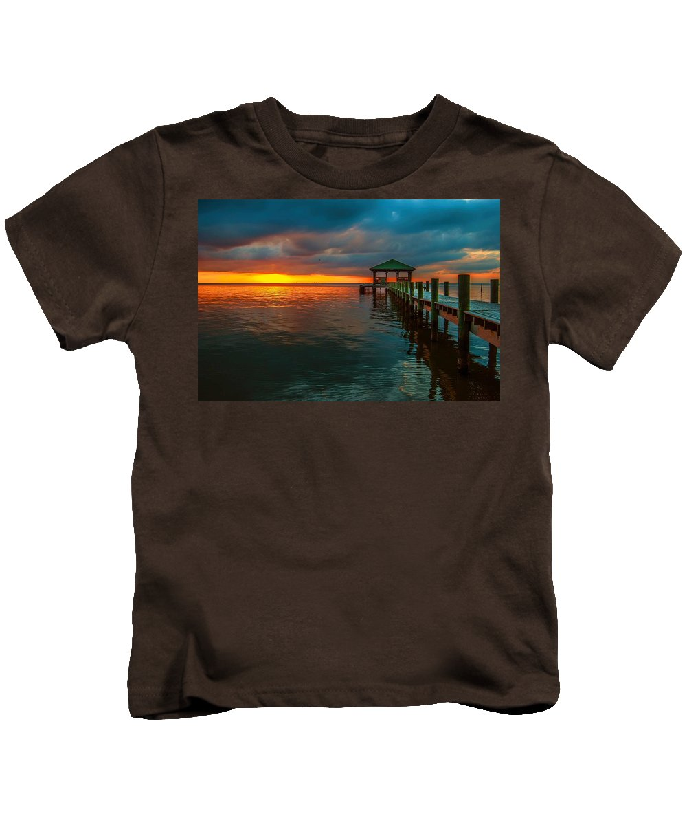 Palm Kids T-Shirt featuring the digital art Green Dock And Golden Sky by Michael Thomas