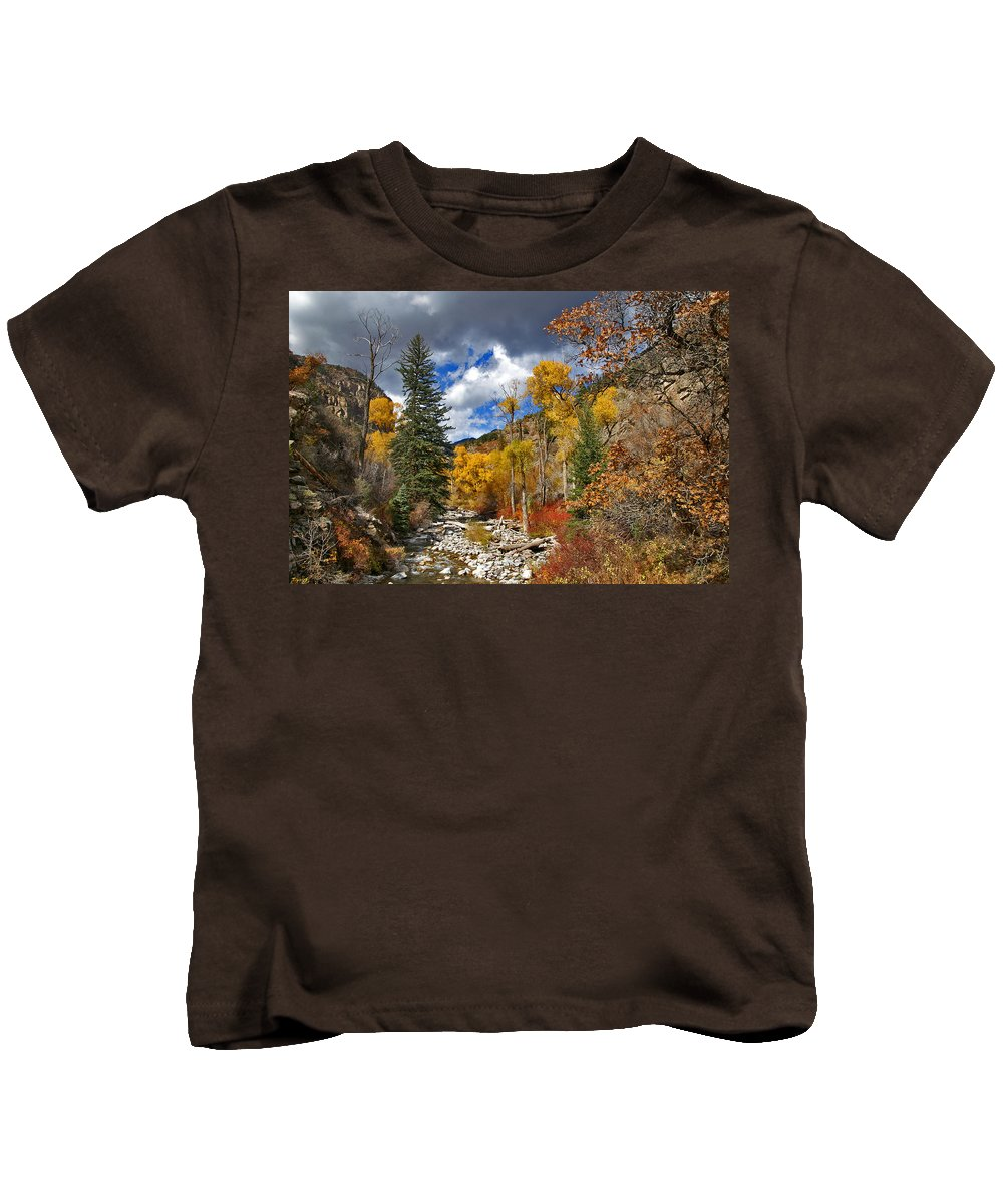 Glenwood Canyon Kids T-Shirt featuring the photograph Grizzly Creek Cottonwoods by Jeremy Rhoades