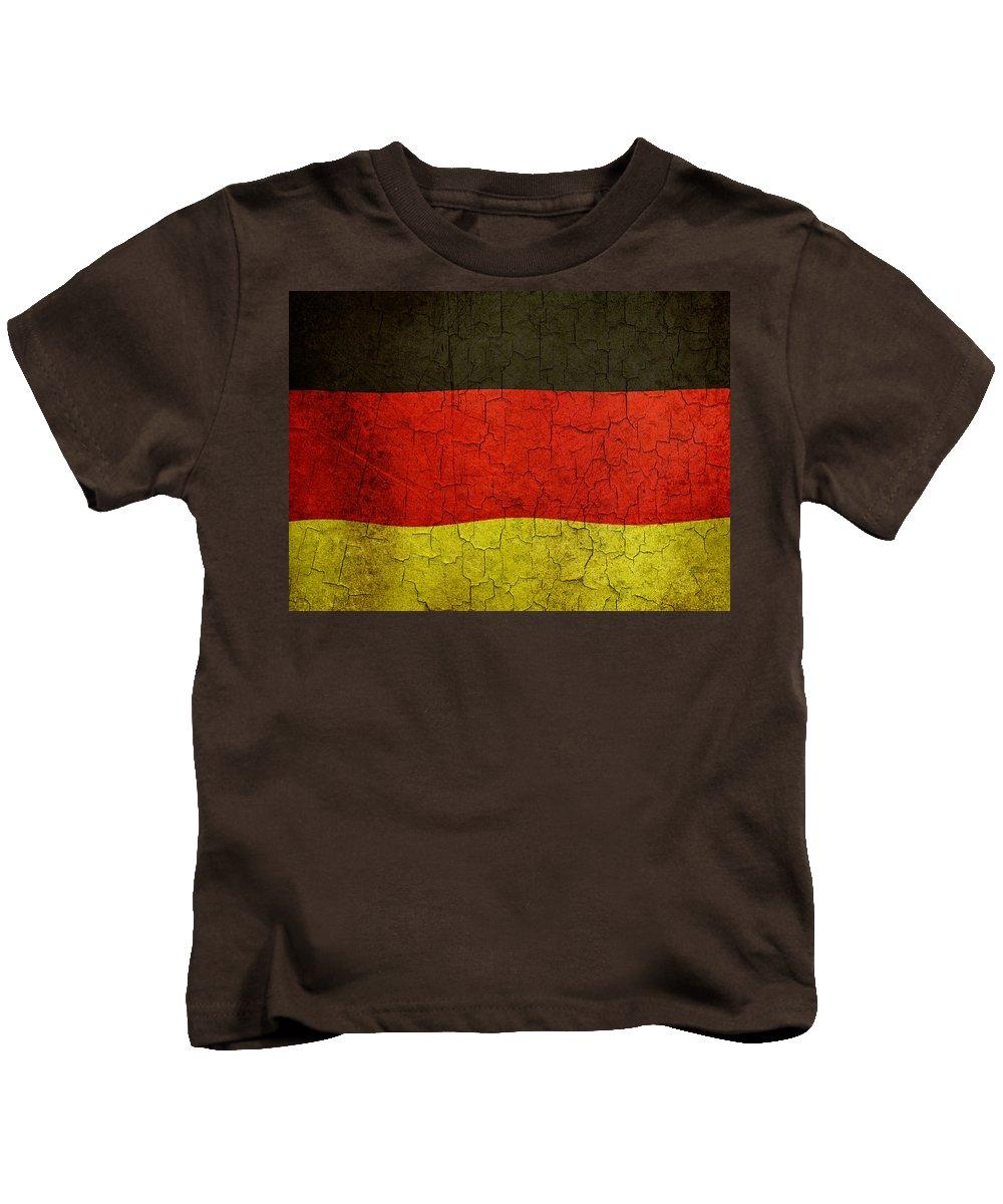 Aged Kids T-Shirt featuring the digital art Grunge German Flag by Steve Ball