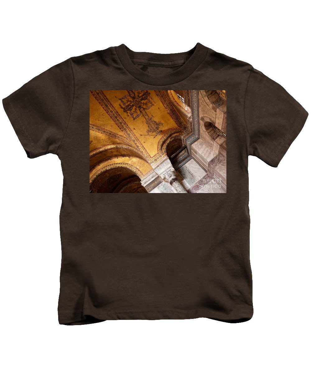 Istanbul Kids T-Shirt featuring the photograph Hagia Sophia Arch Mosaics by Rick Piper Photography