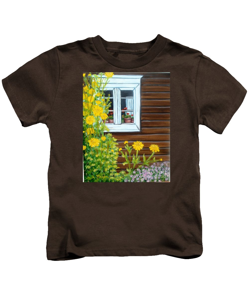 Window Kids T-Shirt featuring the painting Happy Homestead by Laurie Morgan