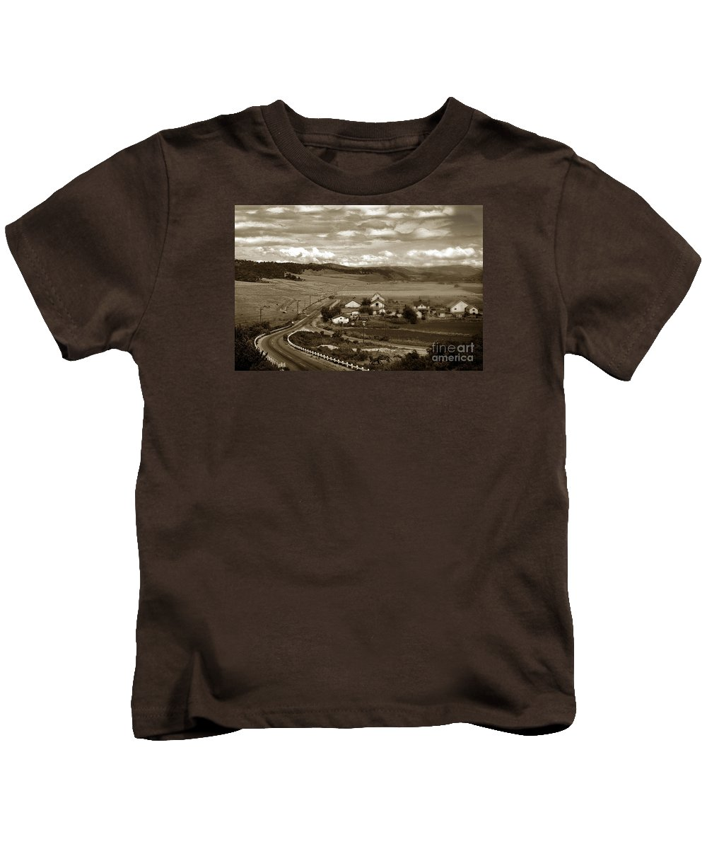 Hatton Kids T-Shirt featuring the photograph Hatton Ranch Carmel Valley From Highway One California 1940 by California Views Archives Mr Pat Hathaway Archives