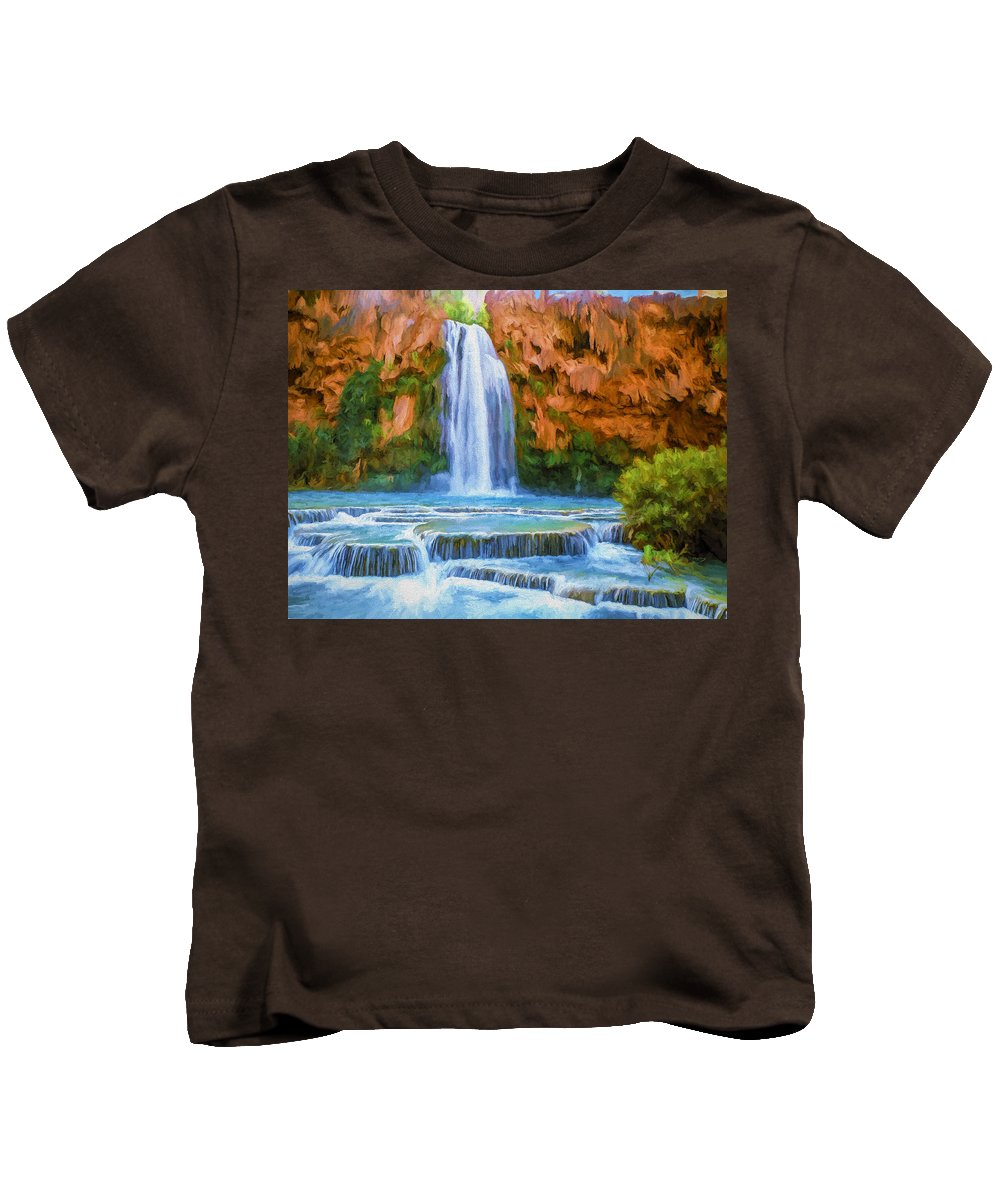 Fine Art Kids T-Shirt featuring the painting Havasu Falls by David Wagner