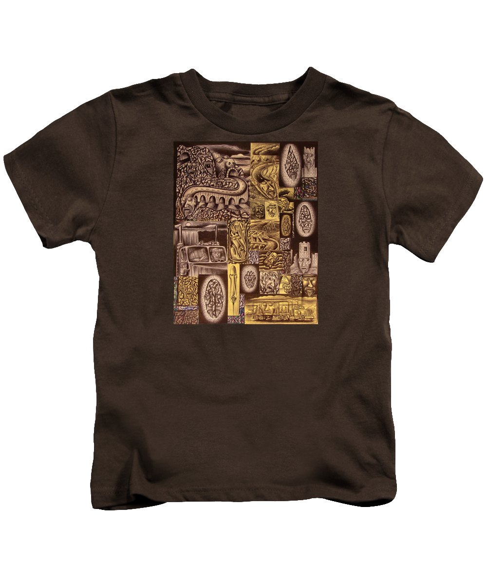 Pen Kids T-Shirt featuring the drawing He Always Travels Alone by Stuart Swartz