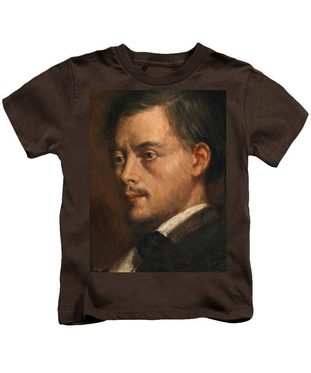 Edgar Degas Head Of A Man Kids T-Shirt featuring the painting Head Of A Man by Edgar Degas