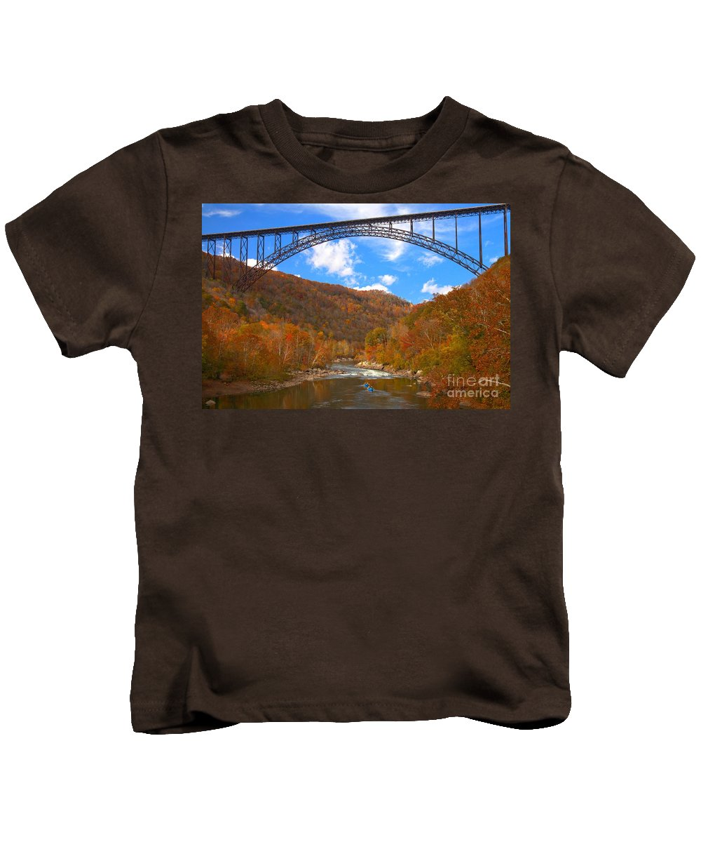 Rafting Kids T-Shirt featuring the photograph Heading Toward The New River Rapids by Adam Jewell