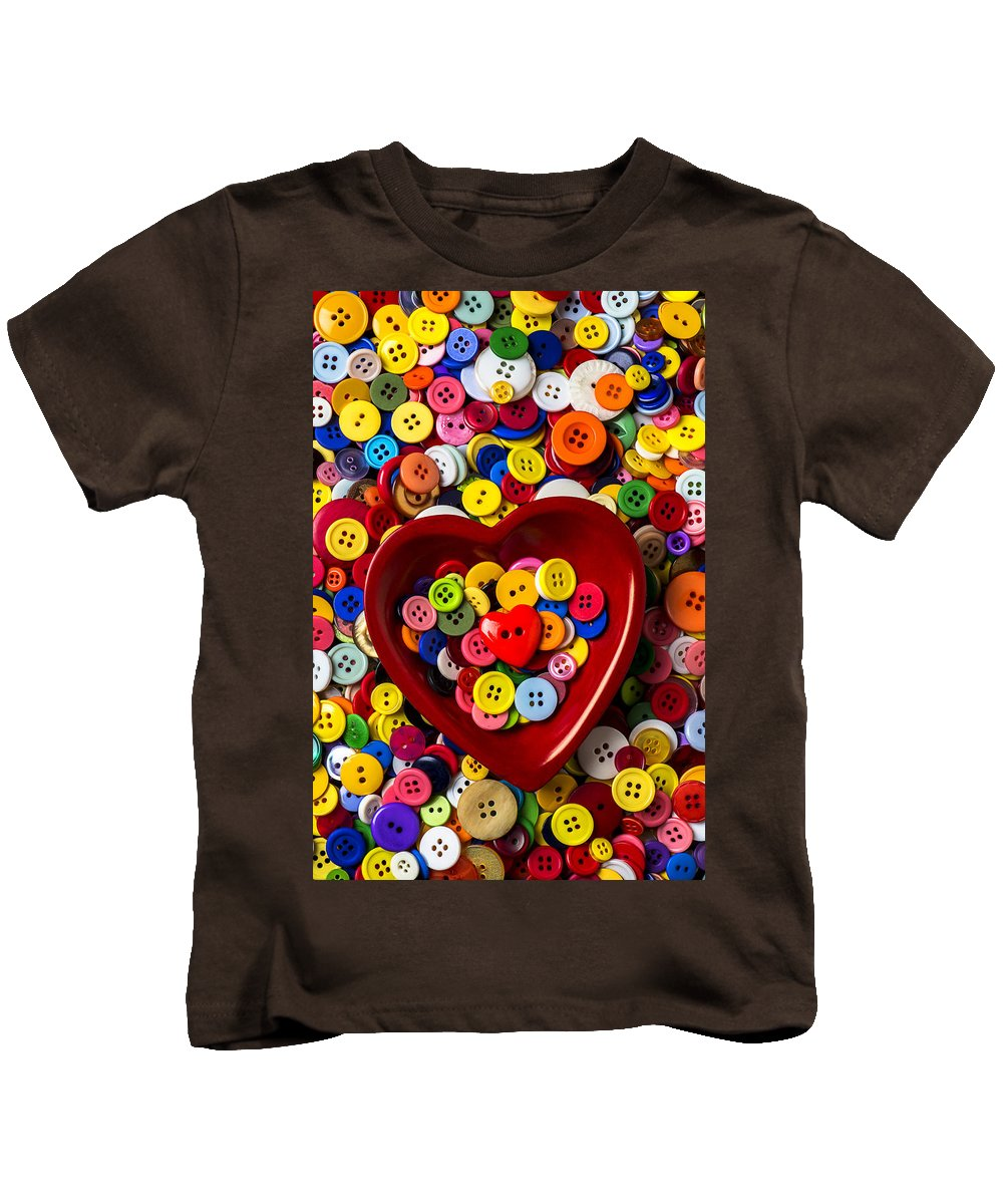 Heart Kids T-Shirt featuring the photograph Heart Bowl With Buttons by Garry Gay