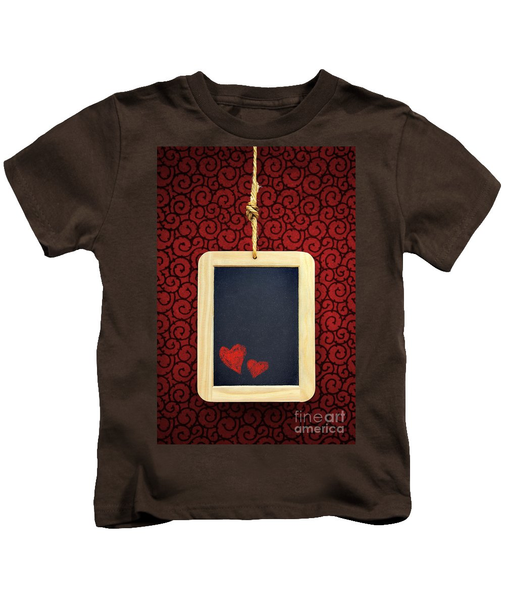 Chalkboard Kids T-Shirt featuring the photograph Hearts In Slate by Carlos Caetano