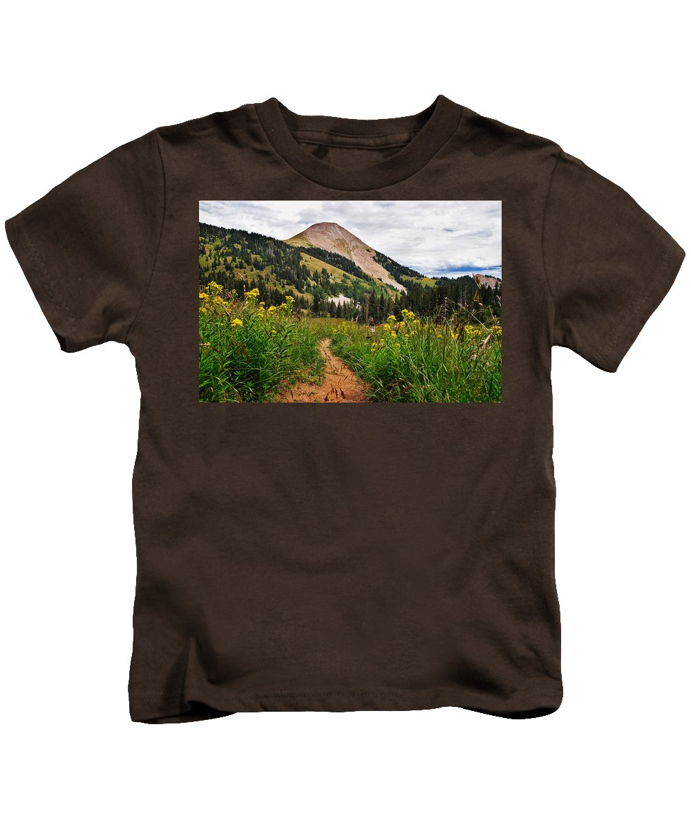 3scape Kids T-Shirt featuring the photograph Hiking In La Sal by Adam Romanowicz