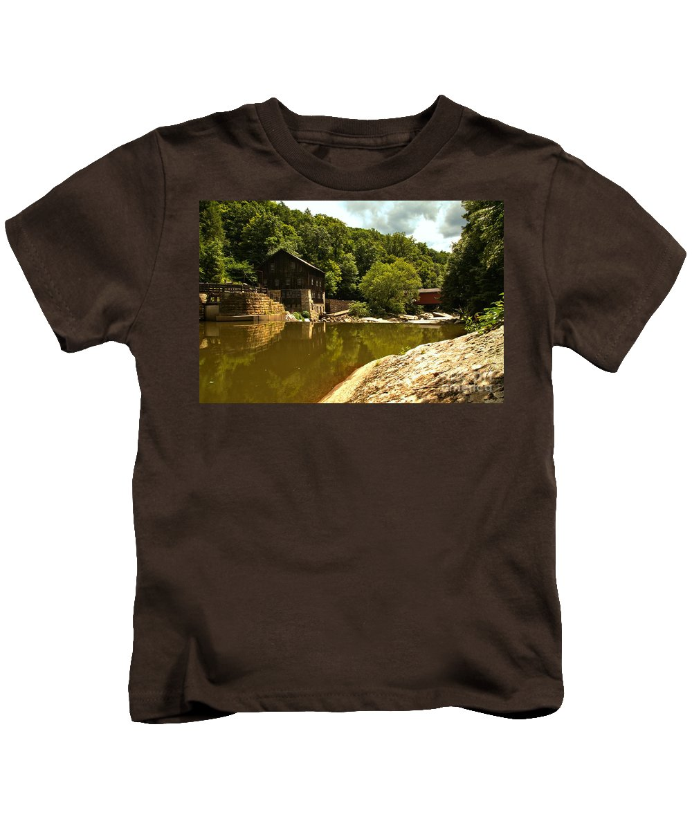 Mcconnells Mill State Park Kids T-Shirt featuring the photograph History Along Slippery Rock Creek by Adam Jewell