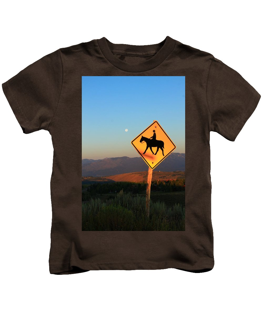 Jackson Hole Wyoming Kids T-Shirt featuring the photograph Horse Crossing by Catie Canetti