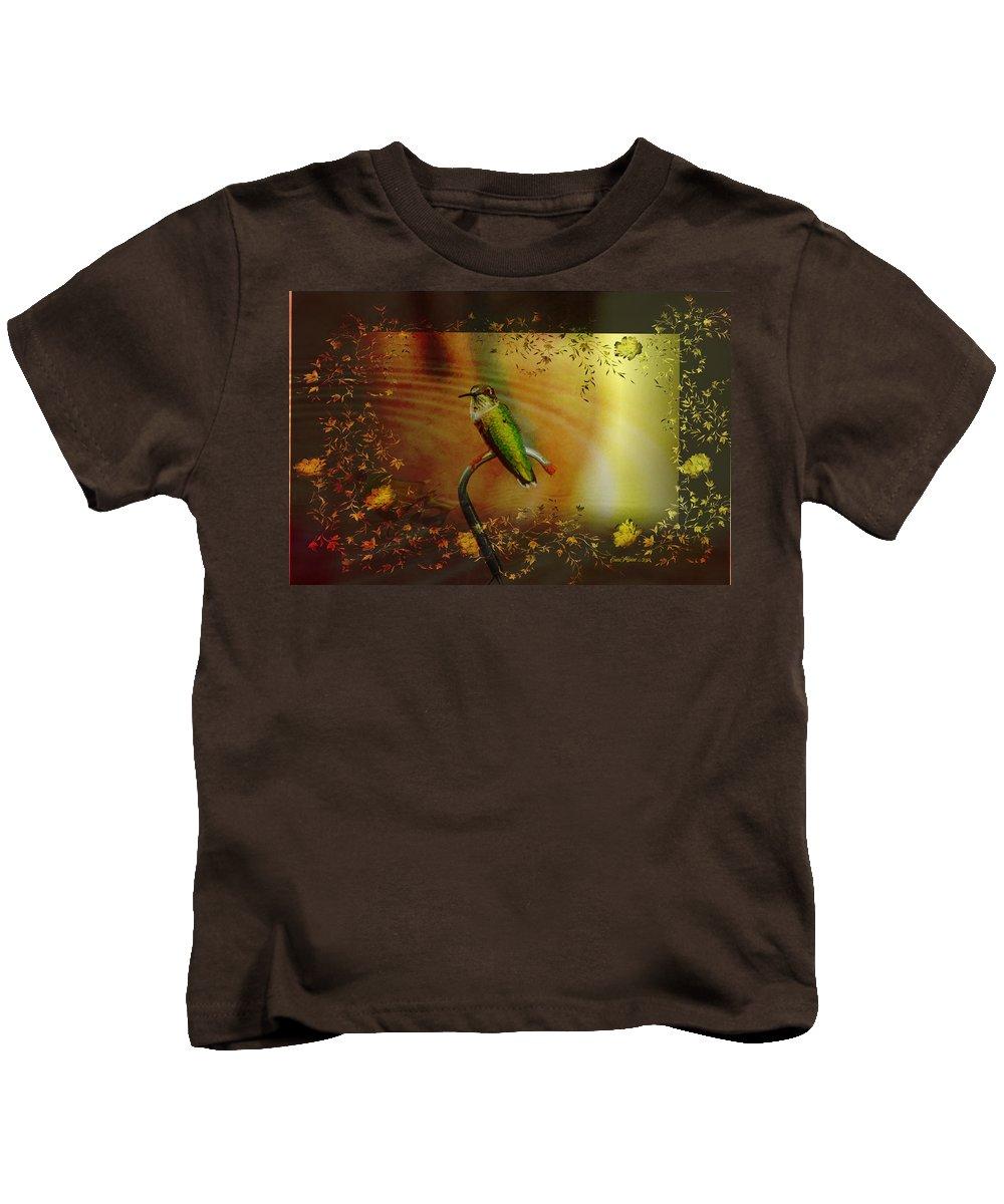 Hummingbird Kids T-Shirt featuring the photograph Hummingbird At The Pond by Ericamaxine Price