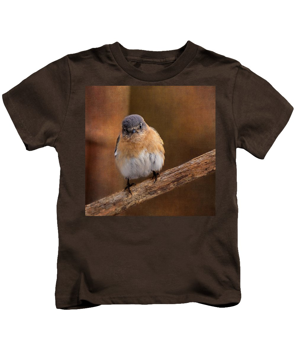 Tuffed Tit Mouse Kids T-Shirt featuring the photograph I Don't Think So by Cindy Archbell