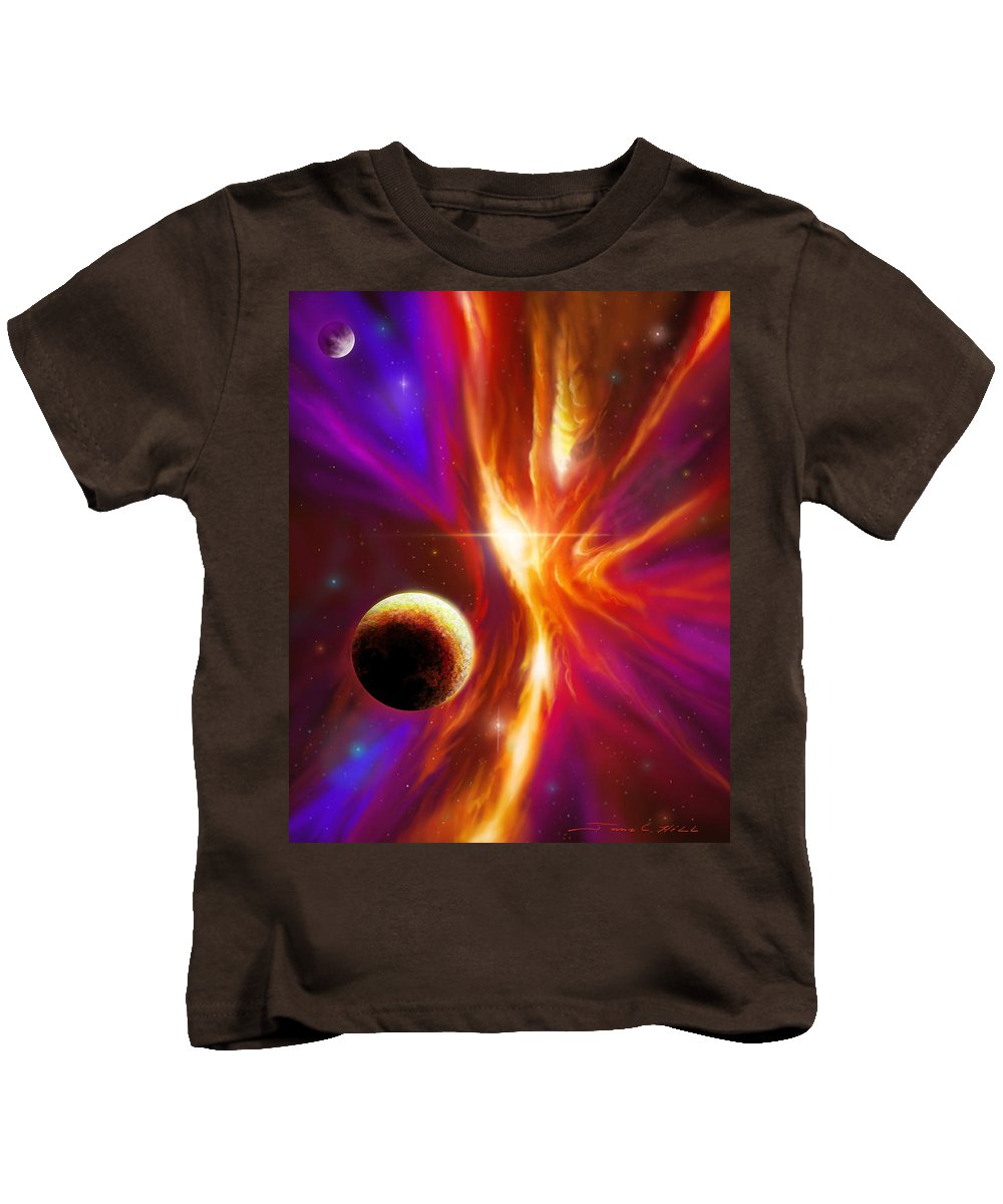 Jameshillgallery.com Kids T-Shirt featuring the painting Intersteller Supernova by James Christopher Hill