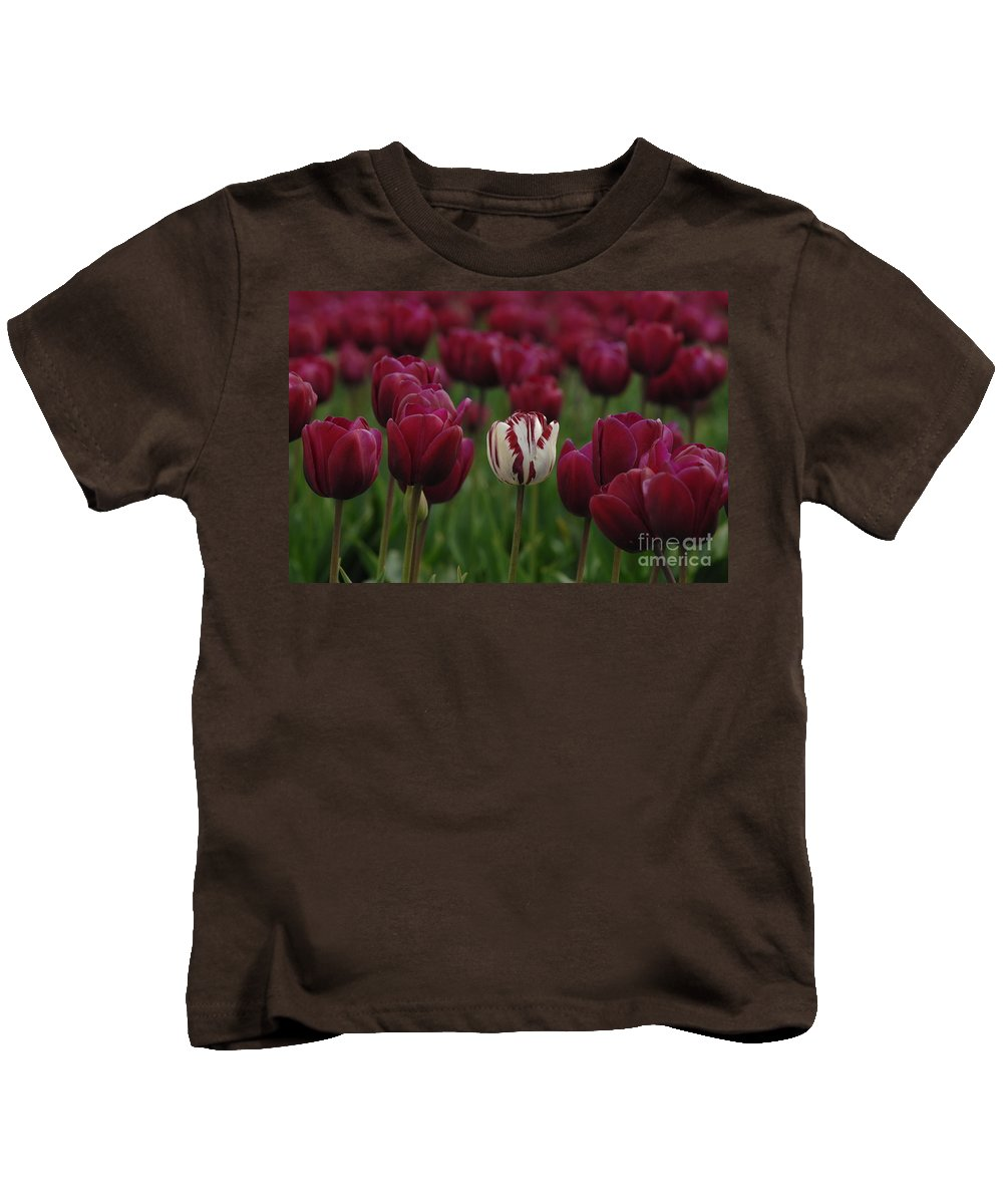 Tulips Kids T-Shirt featuring the photograph It Is Beautiful Being Different by Bob Christopher