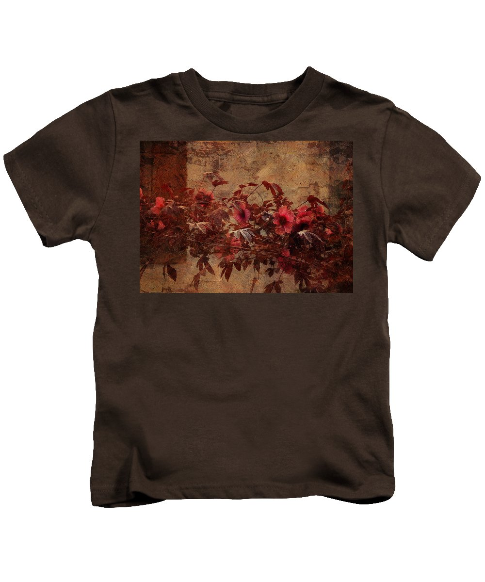 Flower Kids T-Shirt featuring the photograph Italian Impasto Style Coral Floral Branch by Carla Parris