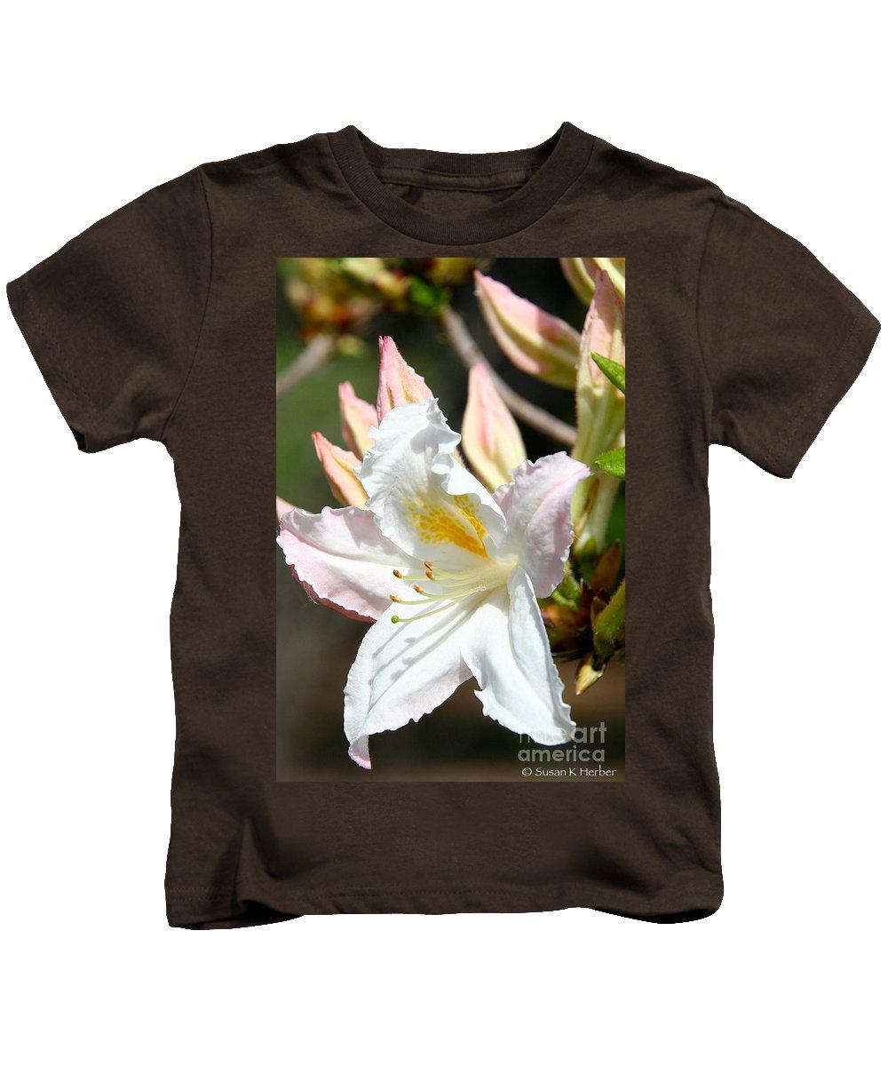Flower Kids T-Shirt featuring the photograph Ivory Azalea by Susan Herber