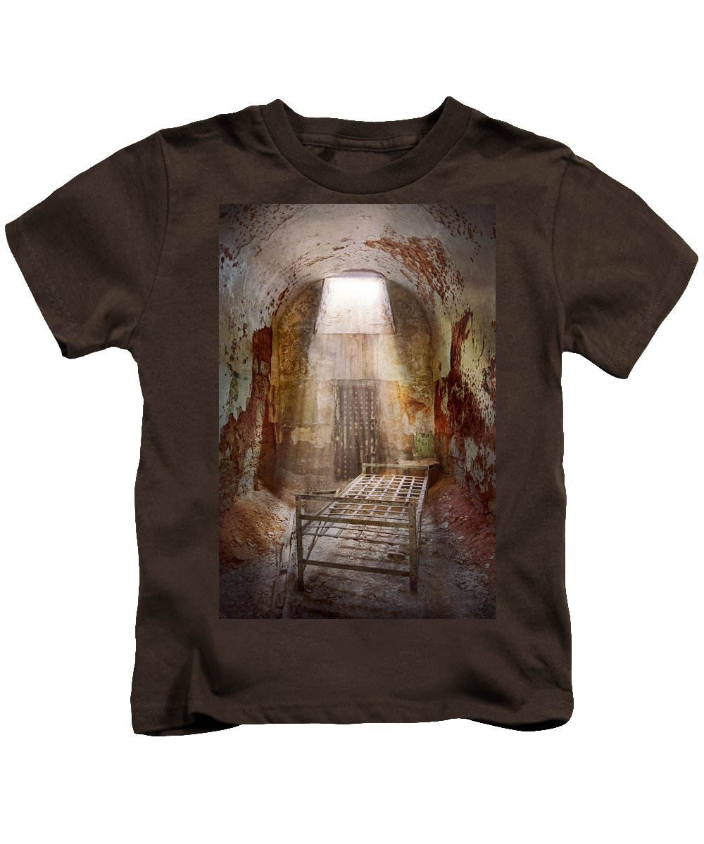 Jail Kids T-Shirt featuring the photograph Jail - Eastern State Penitentiary - 50 Years To Life by Mike Savad