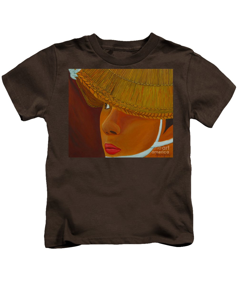Japan Kids T-Shirt featuring the painting Japanese Bonadori Dancer by Anthony Dunphy