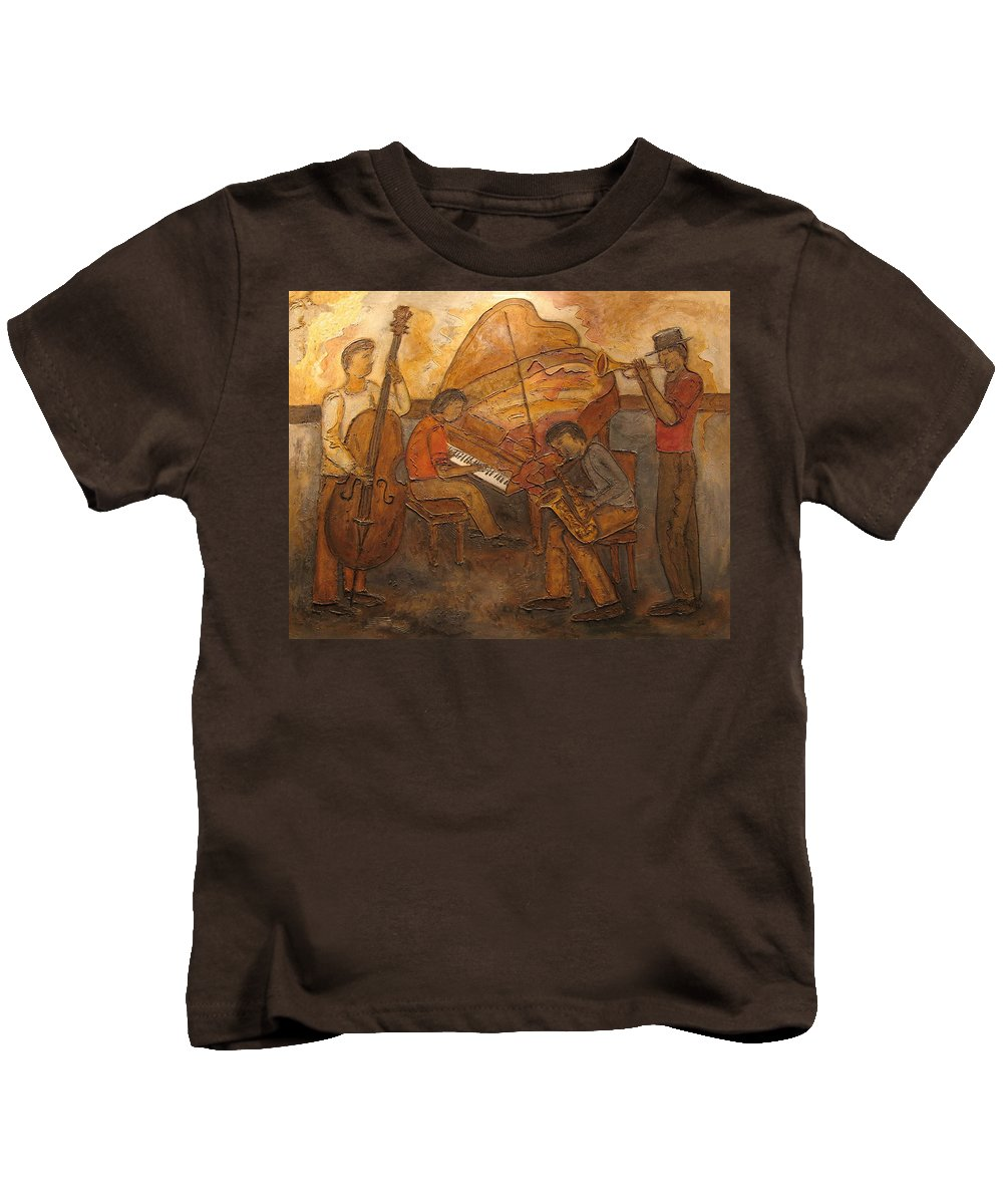 Impressionist Kids T-Shirt featuring the painting Jazz Quartet by Anita Burgermeister