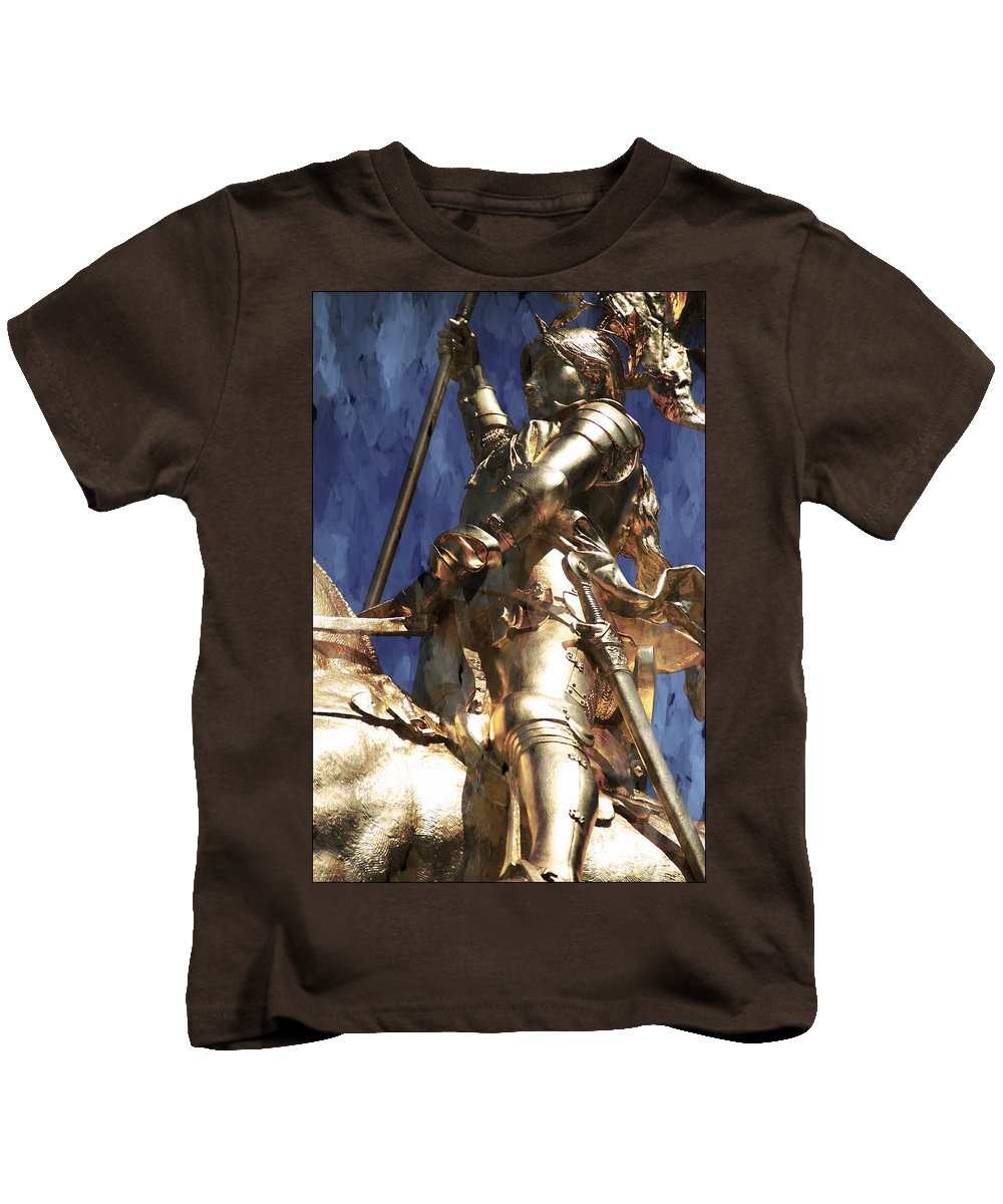 Joan Of Arc Kids T-Shirt featuring the photograph Joan On Blue by Alice Gipson