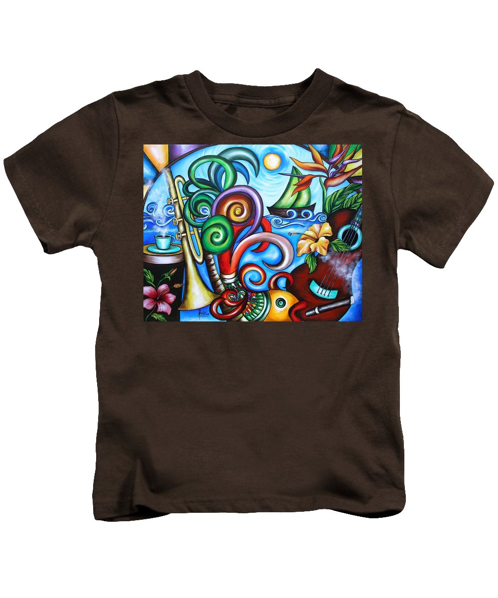Cuba Kids T-Shirt featuring the painting Just A Day In Paradise by Annie Maxwell