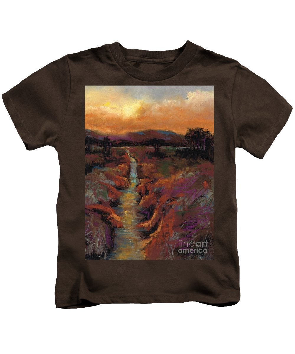 Rivers Kids T-Shirt featuring the painting Just Before Sunset by Frances Marino