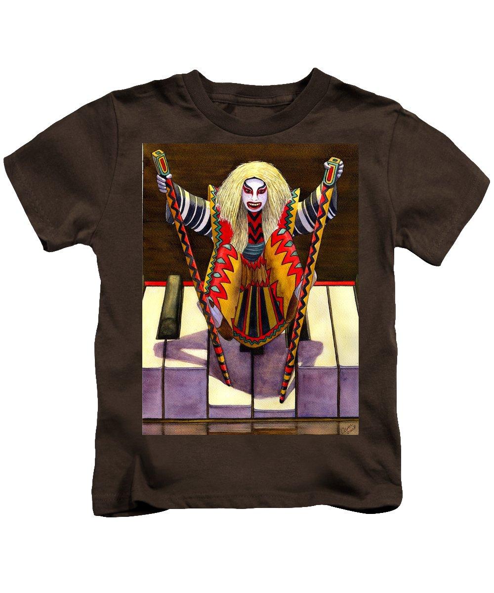 Kabuki Kids T-Shirt featuring the painting Kabuki Chopsticks 1 by Catherine G McElroy