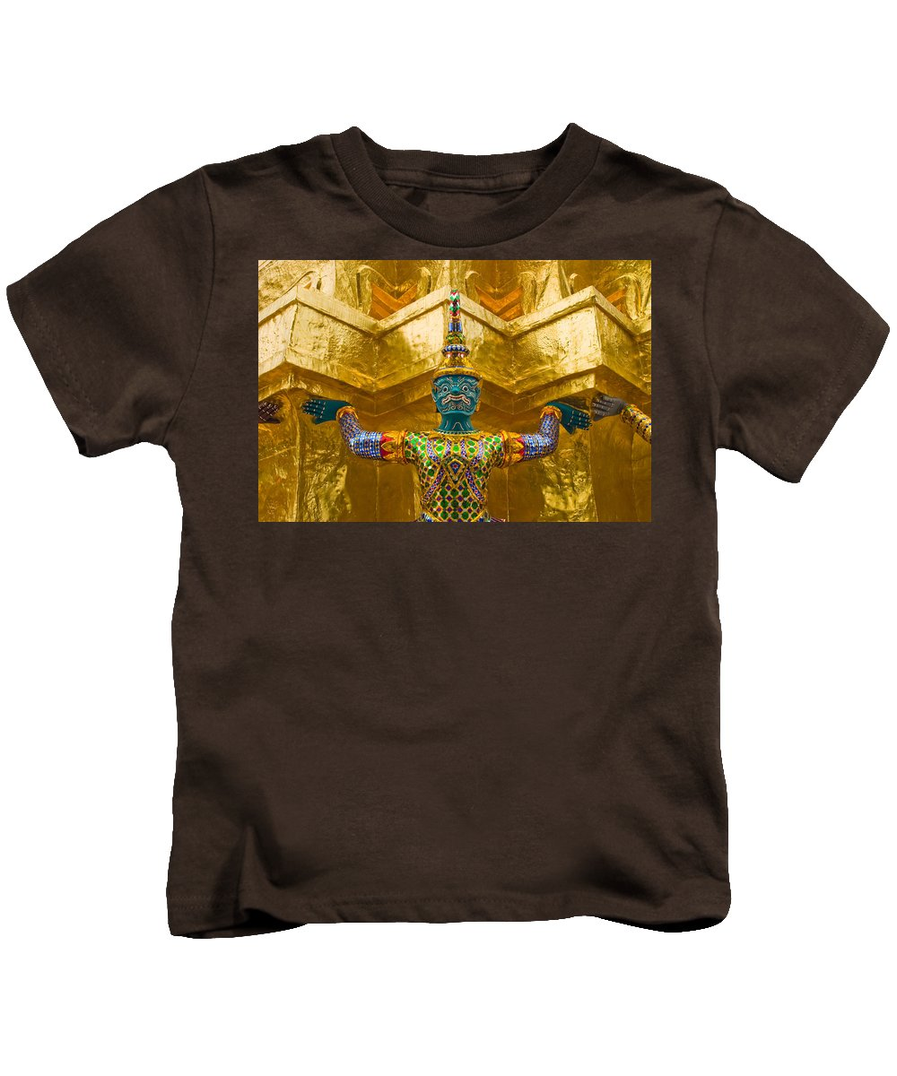 3scape Kids T-Shirt featuring the photograph Khon Guard by Adam Romanowicz