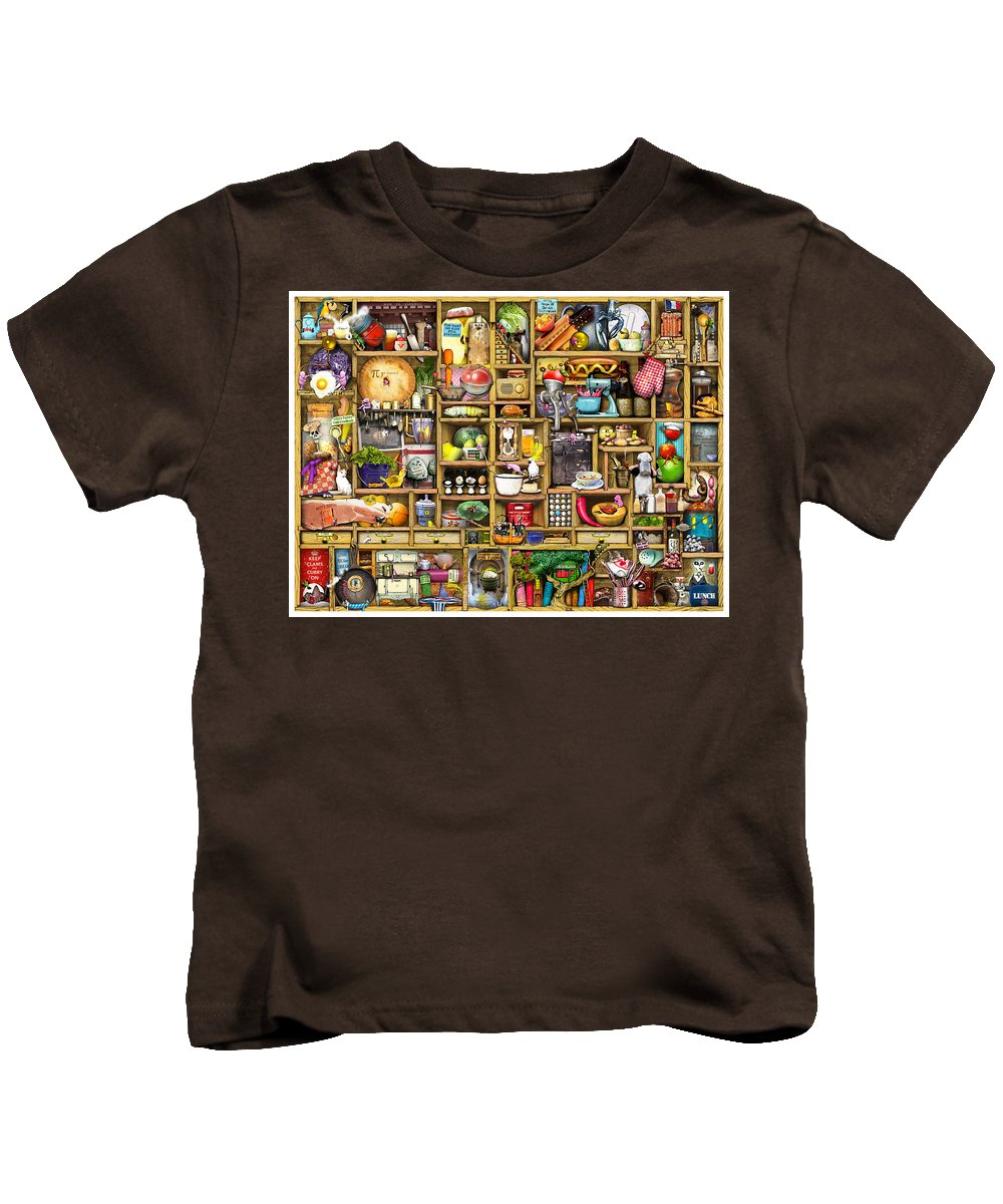 Confusing Kids T-Shirt featuring the digital art Kitchen Cupboard by Colin Thompson