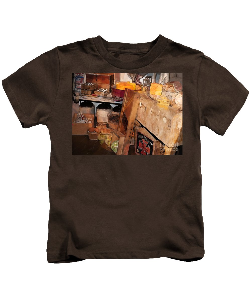 Kitchen Kids T-Shirt featuring the photograph Kitchen - Food - Meat - Cheese - Eggs by Liane Wright