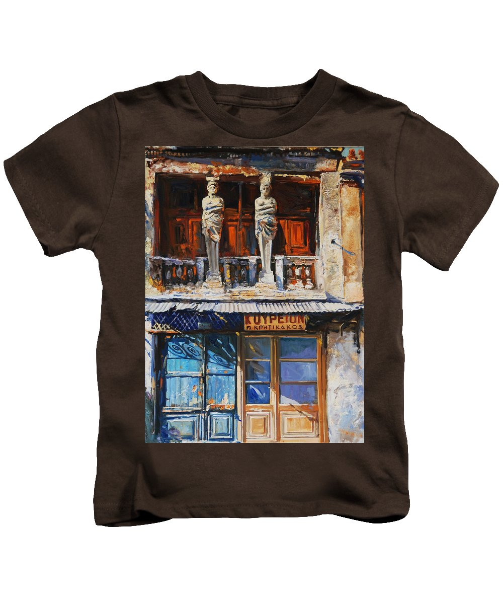 Old Greek Sculptures Kids T-Shirt featuring the painting Koriates by Sefedin Stafa