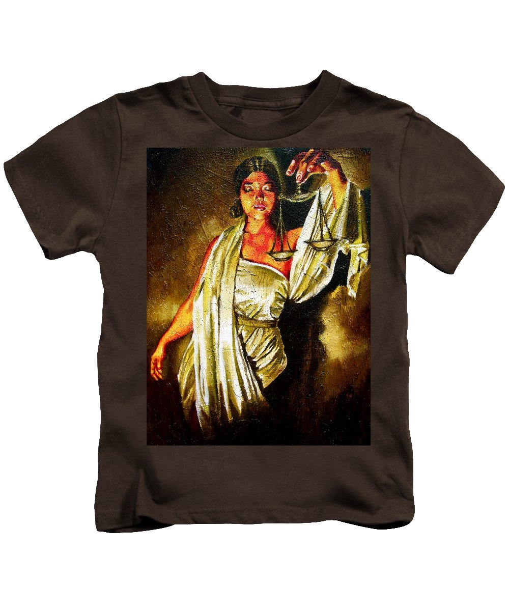 Law Art Kids T-Shirt featuring the painting Lady Justice Sepia by Laura Pierre-Louis
