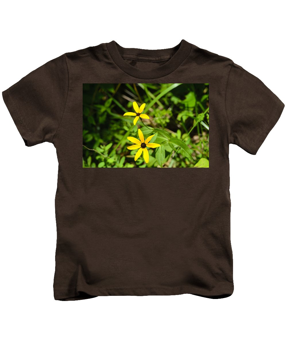 Black Kids T-Shirt featuring the photograph Lake Winfield Scott Wild Black-eyed Susan Flowers by Steve Samples